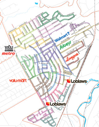 Leaside grocery store map