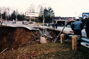 The corner of Laird and Millwood during the 1985 mud slide.
