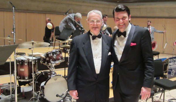BRUCE PHILP, left, with Nick Hilscher, today's leader of the Glenn Miller Orchestra, at Roy Thomson Hall March 13.