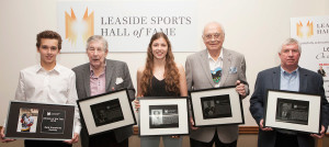 "Inductees from left to right; Athlete of the Year Reid Humphrey, Tom Irwin (son of inductee Arthur ""Laurie"" Irwin), Gabby Smyth (granddaughter of inductee Pat (Watt) Friesen), inductee George Armstrong and inductee Norm ""Charlie"" Ahier. Inductee Annie Fahlenbock was in Hawaii on her honeymoon. Her sister Meghan accepted the award. Photo: Jeremy Lewis."