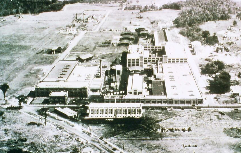 The Durant Motors office building, at the bottom of this c. 1930 photo, is to be redeveloped. The building is on the west side of Laird Dr.