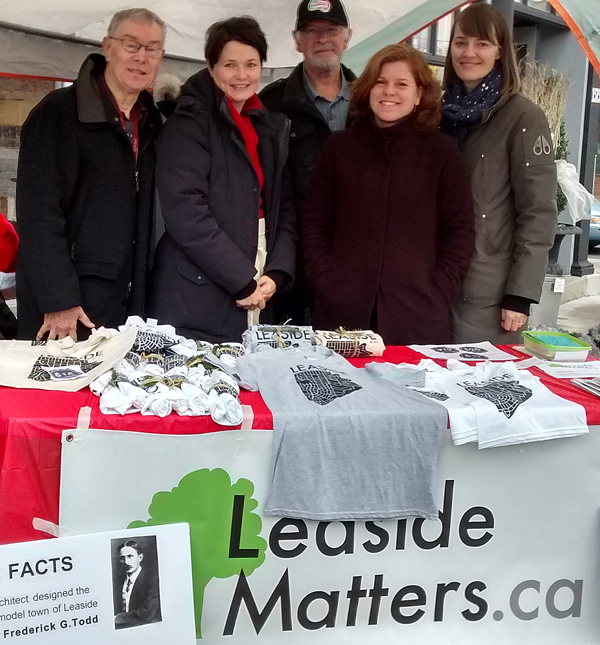 On the street Saturday in December: Leaside Matters members Geoff Kettel, Celine Smith, John Naulis, Connor Turnbull and Kim Auchinochie. All the t-shirts were sold.