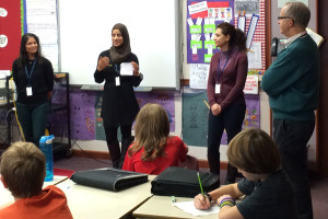 Discussing refugees at Northlea School, from left, Malini Singh, Noura Al-Khafagi, Leila Farzaneh and Bill Pashby
