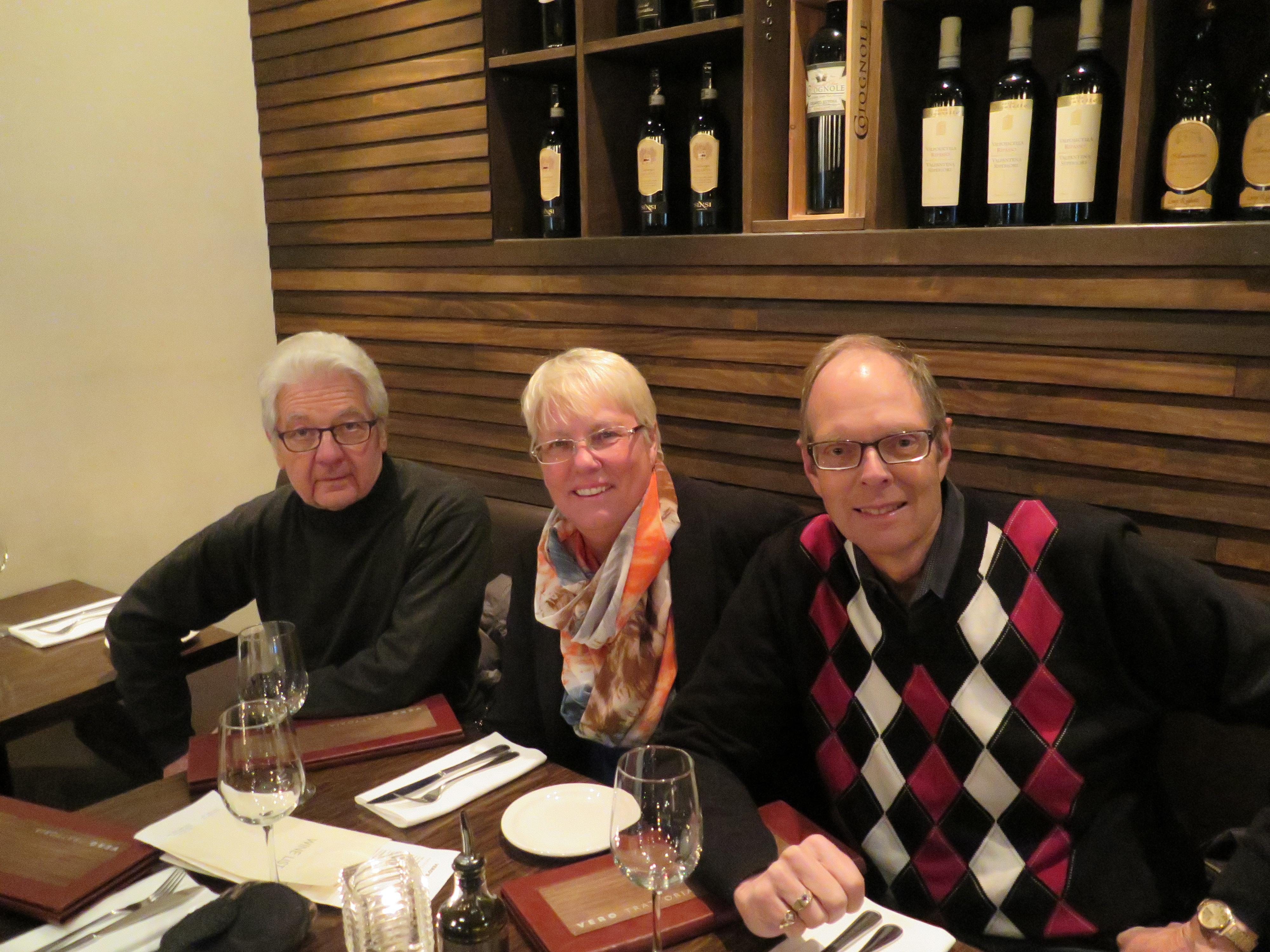 Nick Basaliga, Barbara Carter and Barry Thomas at Vero Trattoria