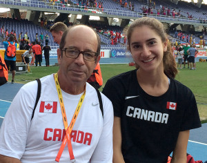 Dave Christiani with Emily Cohen last year in Cali, Colombia for the World Youth (under 18) Track and Field Championships. Cohen was ranked #1 in Canada for 1,500 metres and #2 for 800 metres for girls. She ended the season as #28 in the world for 1,500 metres.