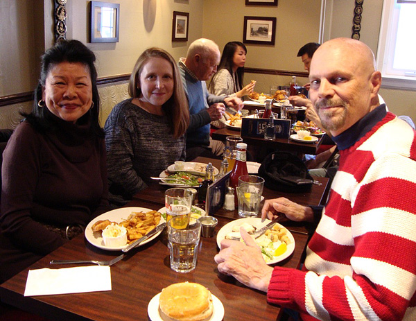 Susan Bardi, left, Caryl Patrick and Marc Etherington at Olde Yorke Fish & Chips
