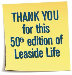 50th Edition of Leaside Life Thank you Sticky note