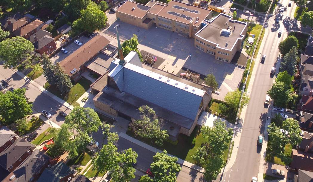 Aerial view of St. Anselm Church
