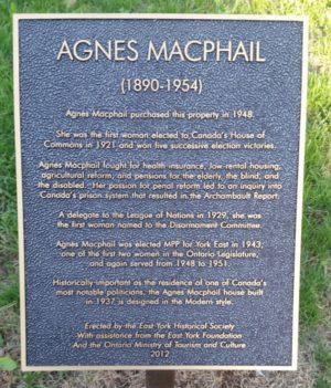 plaque commemorating agnes macphail