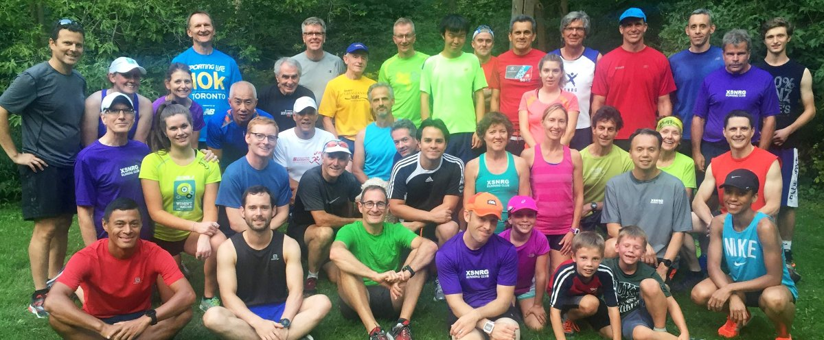Members of Leaside's XSNRG running club before a recent workout in Sunnybrook Park.