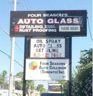 Four seasons Auto Glass Sign