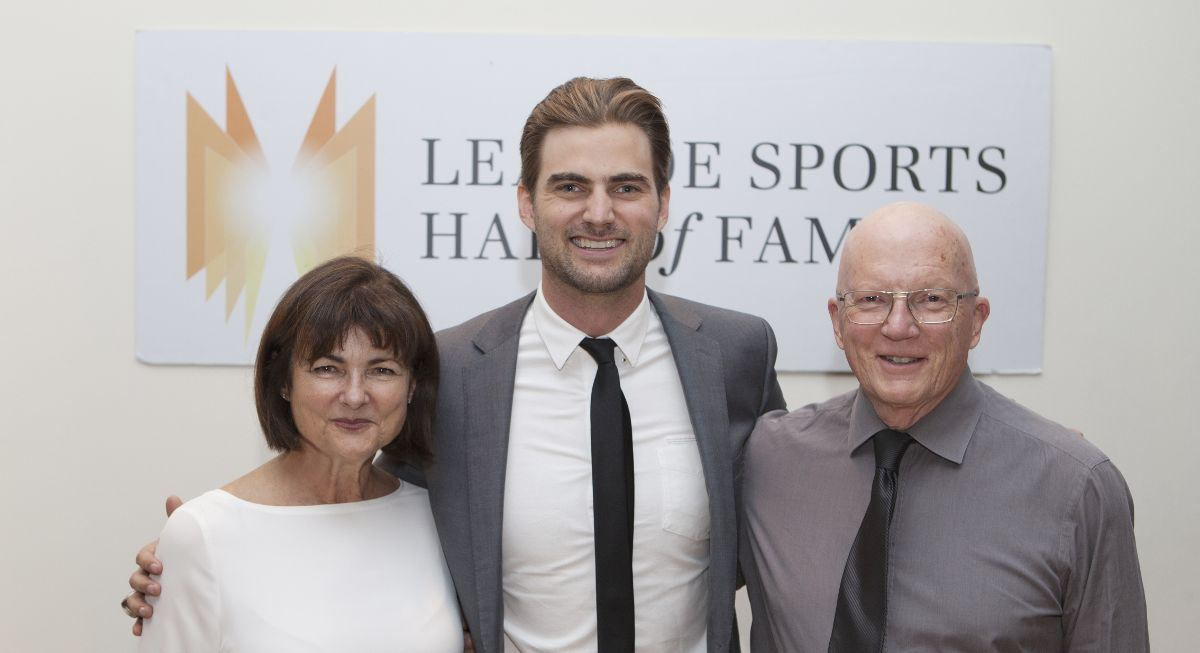 Former Toronto Argonaut Mike Bradwell with his parents Anne and John Bradwell of North Leaside at the Leaside Sports Hall of Fame induction of November 18th. Photo by Jeremy Lewis.