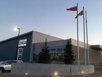 Leaside arena at dusk.