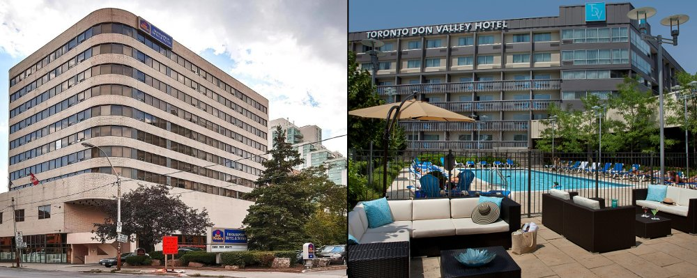 The Best Western Roehampton Hotel and the Toronto Don Valley Hotel & Suites are the closest hotels to Leaside