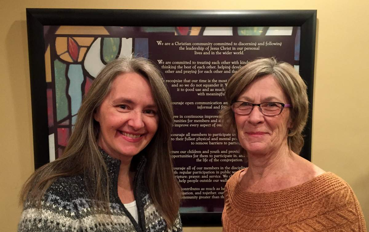The Rev. Lee-Ann Ahlstrom and Marnie Phoenix at Northlea United Church – helping to discern what the church will look like in the future.