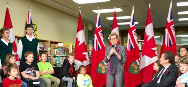 Premier Kathleen Wynne, Minister of Transportation Steven Del Duca, Mayor John Tory and Director of Education Dr. John Malloy visited Northlea to announce that soon photo radar will be used in an attempt to slow cars down in school zones. Photo by Gerri Gershon.