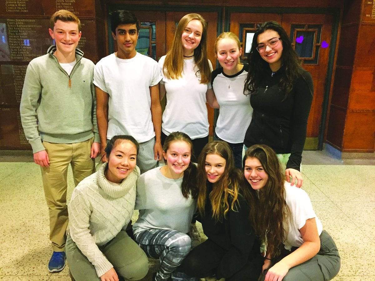 Students of the Leaside High Mental Health & Wellness Committee. Photo By Janis Fertuck.