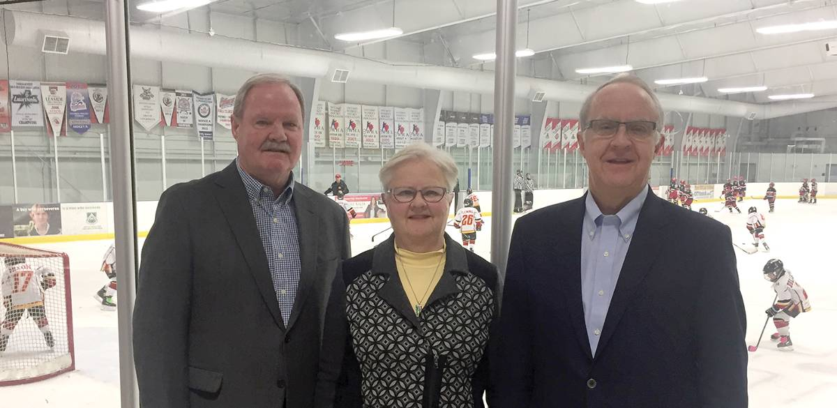 l-r: Bob, Jane and Bill Pashby in what is now officially the Dr. Tom Pashby Play Safely Rink. Photo by Allan Williams