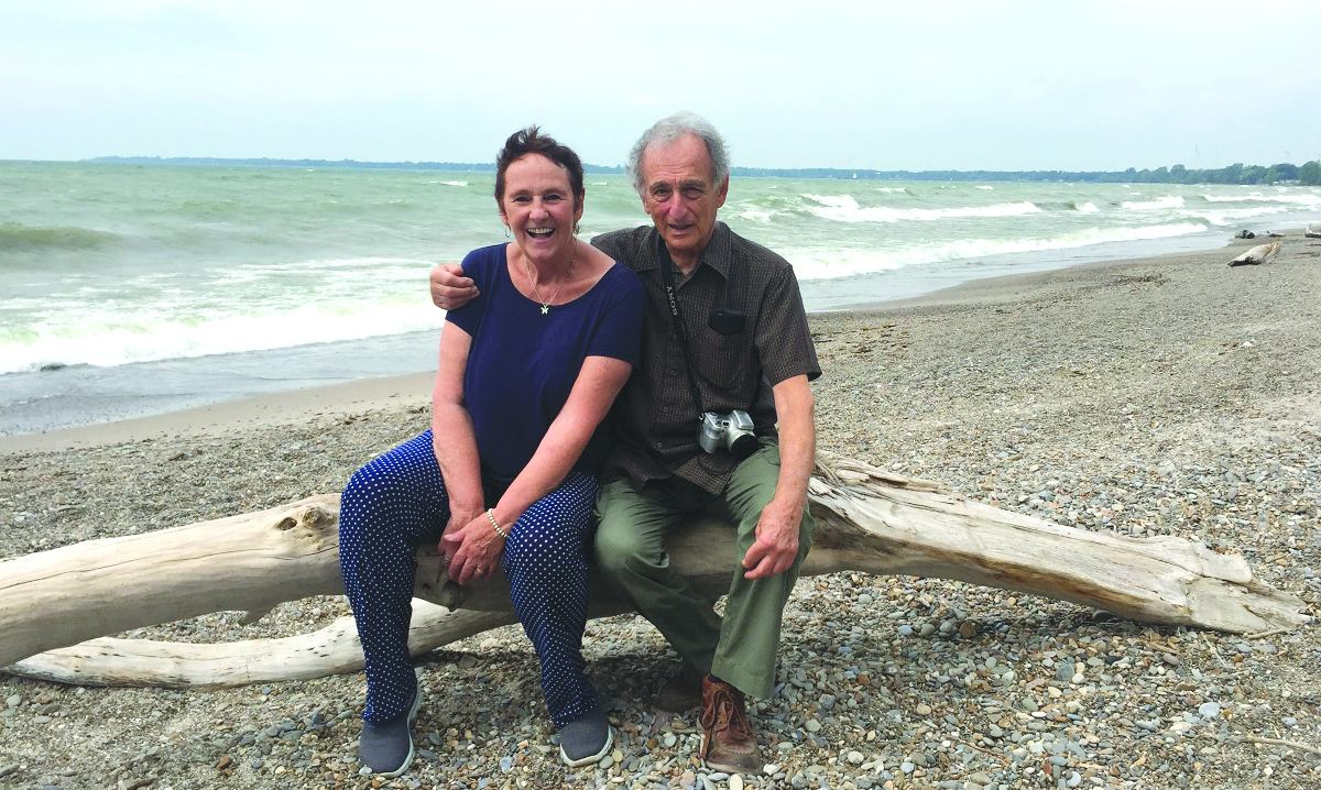 Harry and Ruth in September 2016 along the Lake Erie shoreline at Rock Point Provincial Park, formerly the site of Camp Kvutza, where both spent time in the summers during the 1950s. Photo By Allan Williams.