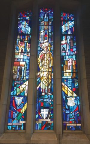 The large stained glass window on the western end of the church facing Bayview Avenue depicts St. Augustine of Canterbury, for whom the church is named. Photo by Allan Williams.