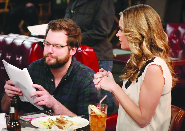 "John Blickstead (left) with Maggie Lawson, who guest stars in an upcoming episode of The Great Indoors entitled ""Cubicles."""
