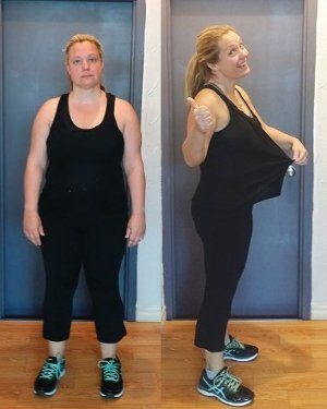 Carol showing off her 24 lb. weight loss!