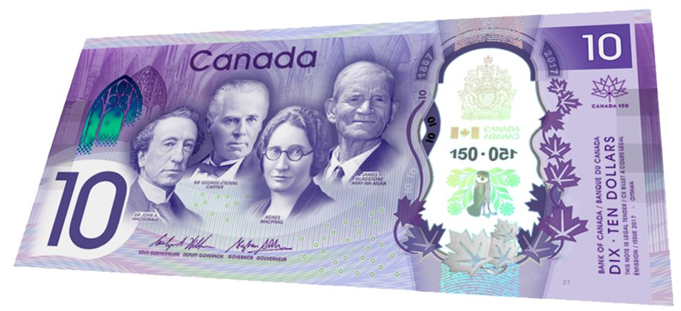 Canadian 150th 10 Dollar Bill