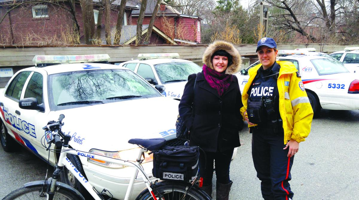 PC Dolenc with Vezina outside 53 Division. Photo by PC Ron Mackay.
