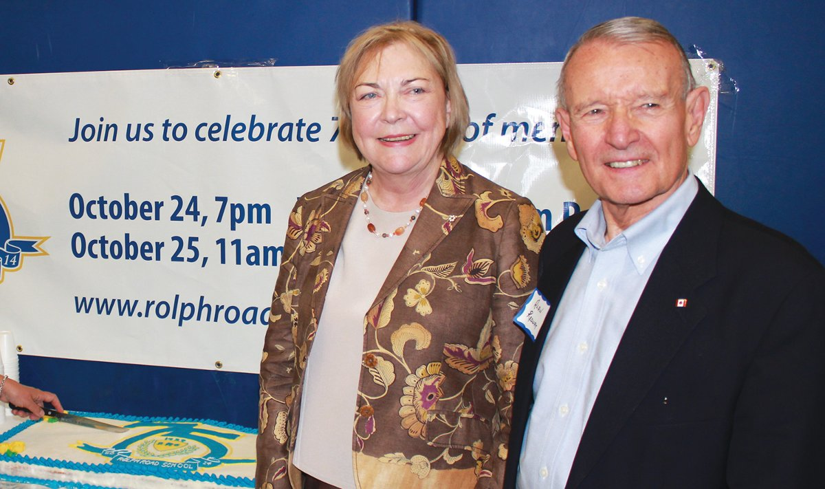 Alan with the Honourable Barbara McDougall at Rolph Road School's 75th anniversary in 2014. Photo By Kurt Grantham.