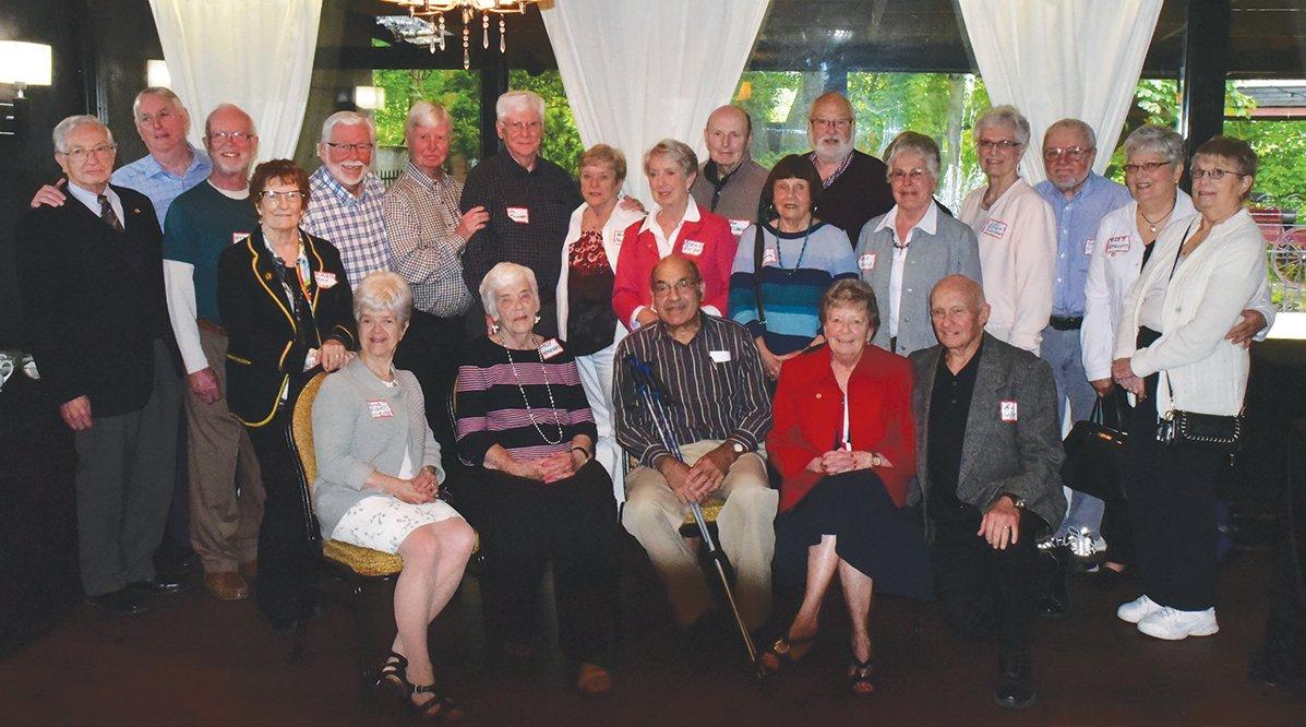 LHS 5T7 60th Anniversary Reunion. Front Row: Anne High (Shields), Sally Hergert (White), Greg Kasparian (School Captain), Jackie Hough(Williams) and Ron Williams. Back Row: John Cowan, Gary Hodgins, Stan Litch, Marie Allen (Plummer), Stewart Halliday, Peter White, Al Pounsett, Betty Pounsett, Nancy Doige (Wahlroth), Don McCrossan, Joy Bingley(Upland), David Martindale, Marie Ellis(McCready), Liz Brown (Fletcher),Doug Linton, Barb Ferguson (Bassett) and Ellen Phin (Thompson).