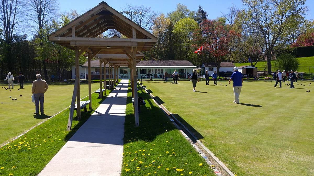 Lawn bowling in action at the Leaside Lawn Bowling Club open house.