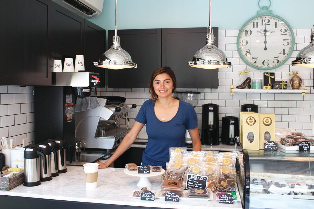 Simryn behind the counter at Avoca.