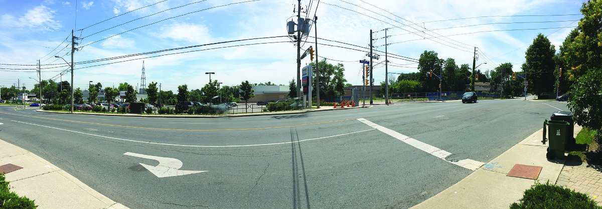 The intersection of Millwood, Krawchuk Lane, Leaside Memorial Gardens and the Baghai development.