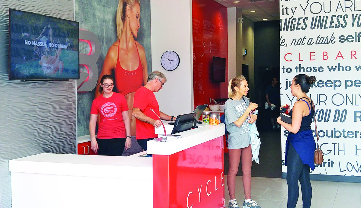 Cyclebar's lobby. Photo by Karli Vezina.
