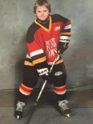 Will Reilly in a Leaside Flames uniform at 7 years old.