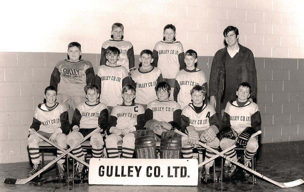 The author, Terry Fallis, front row left, and his brother Tim, front row right, on a Leaside house league team with Stephen Harper, back row, left.