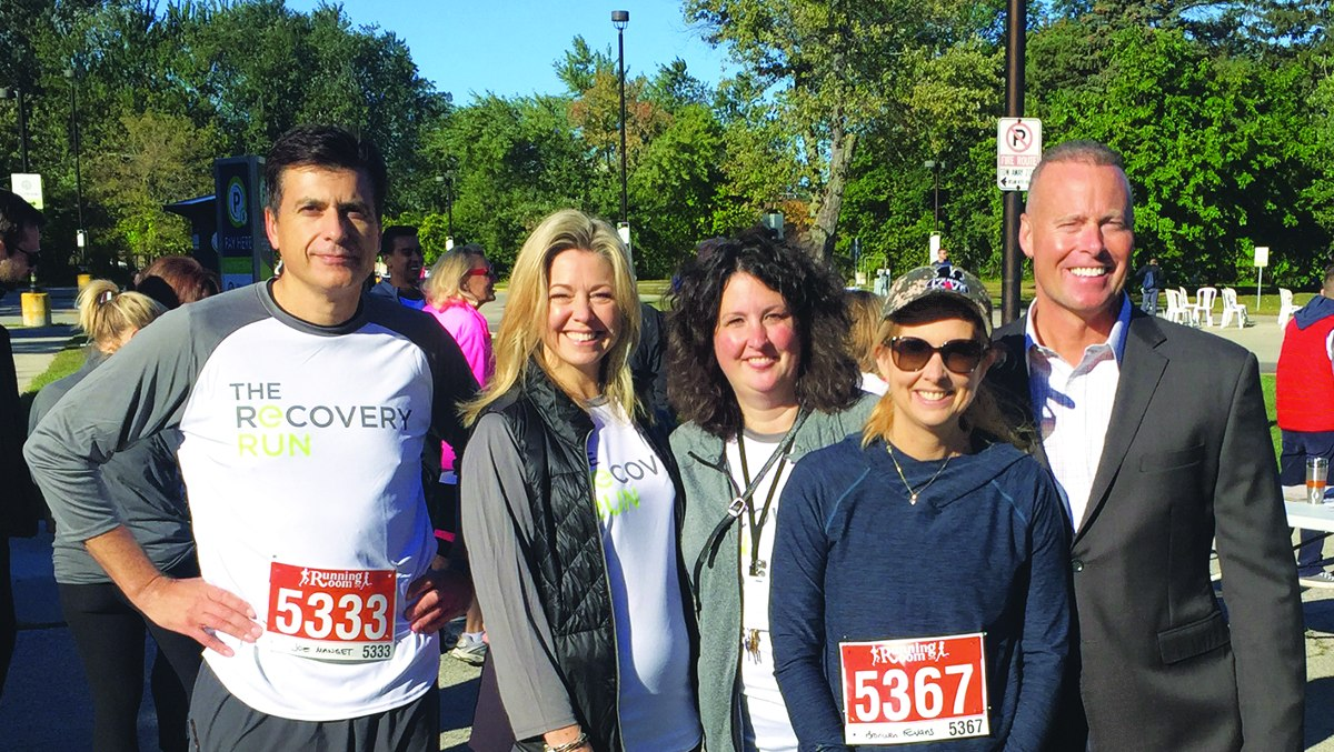 L-r, Joe Manget, CEO, and Cara Vaccarino, COO, of Edgewood Health Network; Kristen Cleary, Clinical Director of Bellwood Health Services, Bronwen Evans, CEO of True Patriot Love and Councillor Jon Burnside (Ward 26) at the Run for Recovery. Photo by Allan Williams.