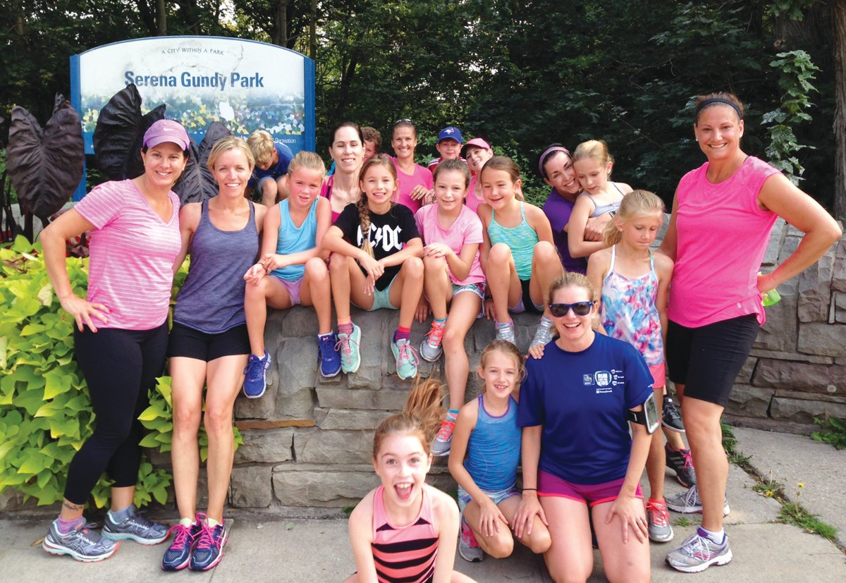 These avid runners hit the trails in Leaside every week. Photo By Sue Pribaz.