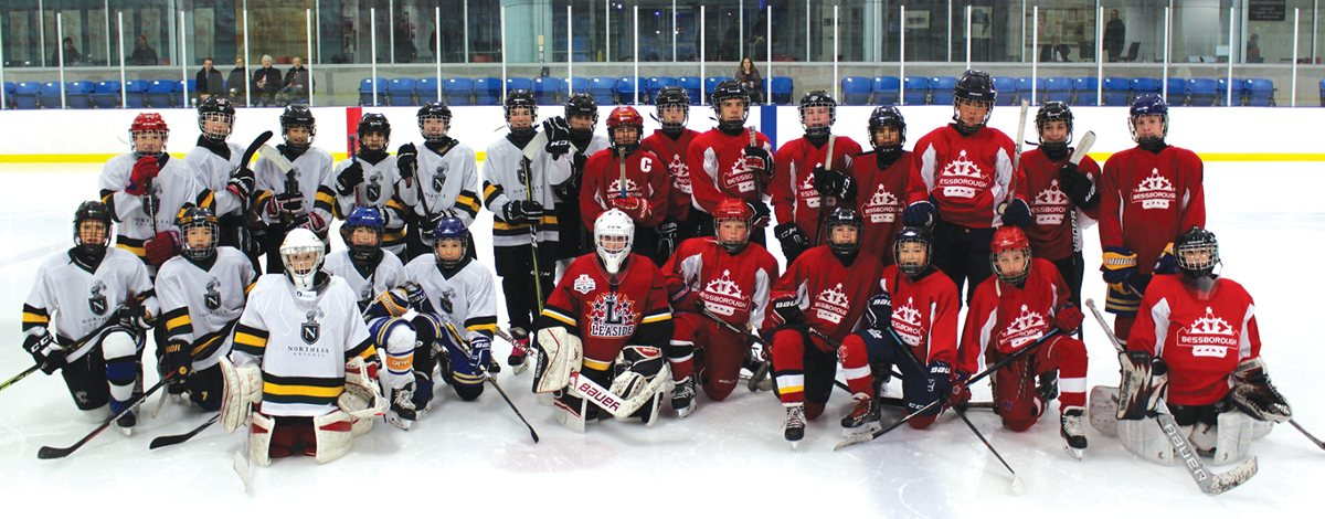 Bessborough and Northlea Intermediates face off in an exhibition game. Photo by Robin Dickie.