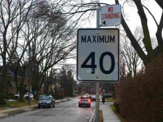 A speed limit sign in Leaside.