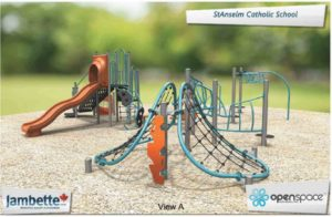 Proposed plans for the new playground, model structures and examples of possible play sets from SerdiKa Landscape Design.
