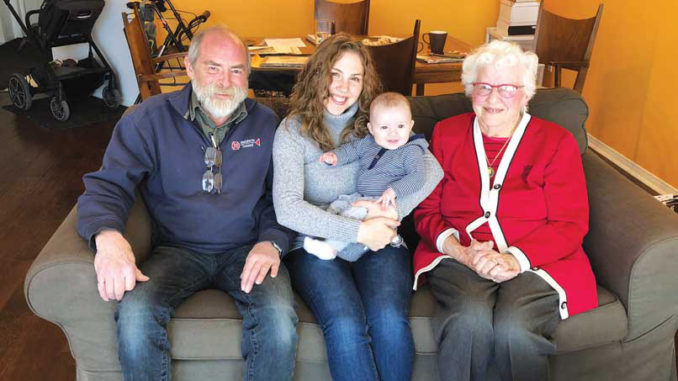 Four generations of Campbells: nephew Peter, great-niece Joanna Hickey, great-great nephew Riggs Hickey and Jean Hill.