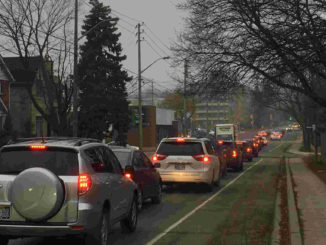 Traffic in Leaside. Staff photo.