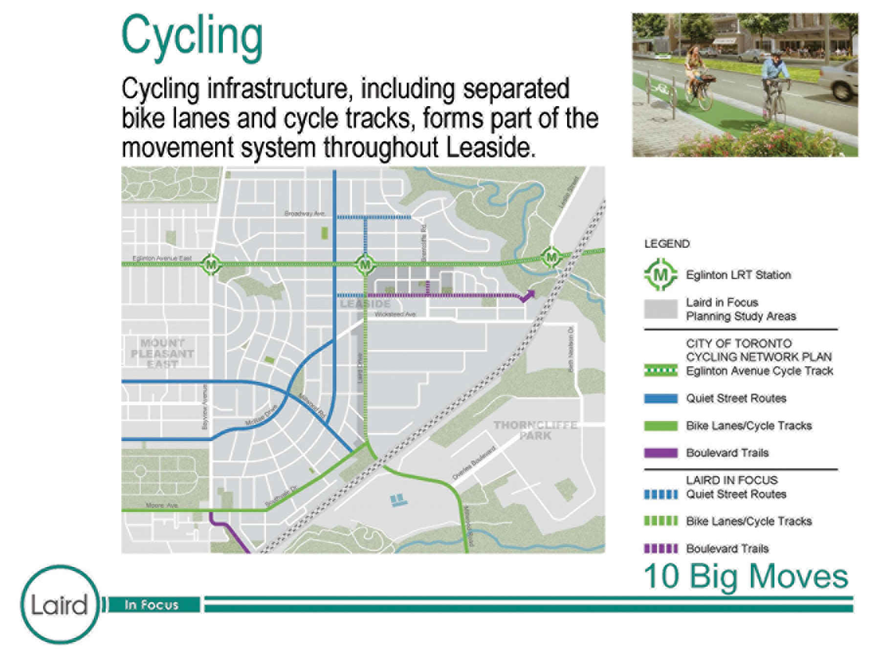 Bike land map, Leaside. Laird in Focus Apr. 23, 2018 Presentation.