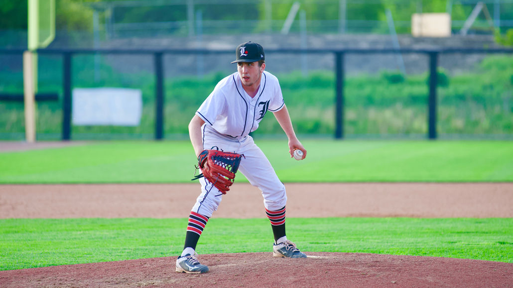 A U18 Leaside Leaf pitcher prepares to throw.