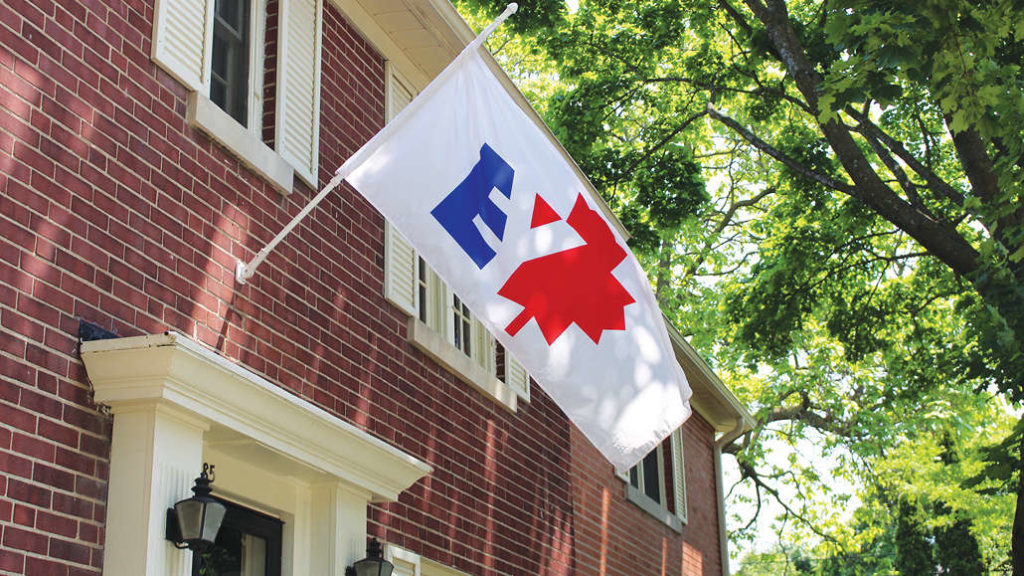 The Borough of East York flag flies on a Leaside home.