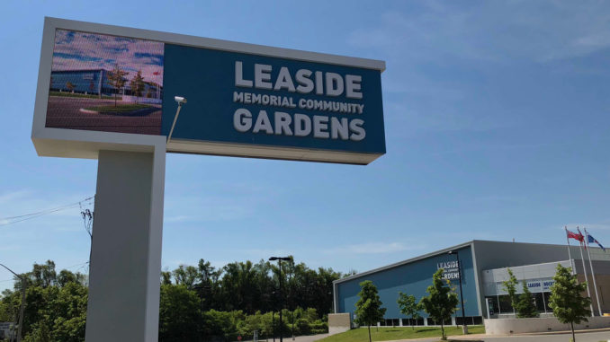 New electronic sign at Leaside Memorial Gardens.