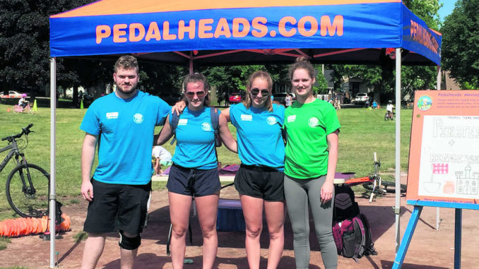Site Manager Claire Scott (far right), and three of her instructors, who welcome up to 150 young cyclists each week to Leaside Pedalheads.