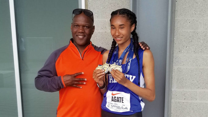 Lucca with her coach, Earl Letford. Courtesy Earl Letford.