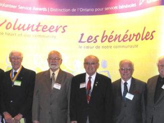 Kiwanians Receiving Ontario Volunteer Awards. Chuck McIlavery (1987), Colin McMechan (1969), Ossie Sherban (1986), Ron Weaton, Walter Jones (1998), Bill Wilson (1984).